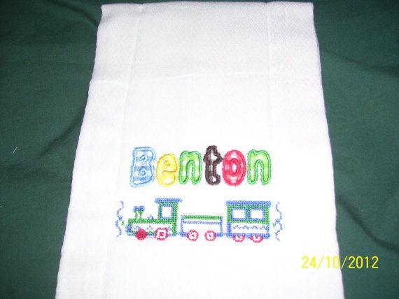 Custom Made Personalized Baby Burp Cloth Blue by SewCraftyRebecca, $8.00