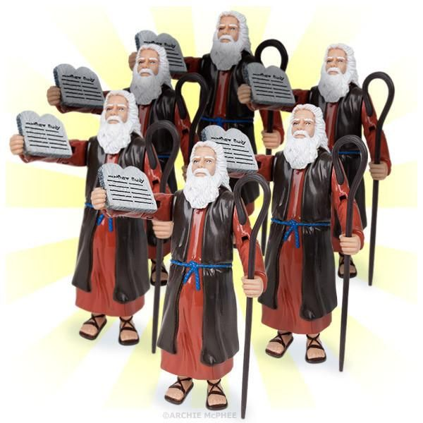 """This mob of six Moseses is Moses to the Max! You get six 5-1/4"""" tall, hard vinyl Moses Action Figures with removable stone tablets for delivering the Ten Commandments and a shepherd's staff for delivering the ten plagues. That means you get a total of 60 commandments! Just think how specific you can get. (Thou shalt not reboot a movie series less than ten years after the final movie of the previous series. Thou shalt not post vague things on Facebook just to get a reaction.) When six Moseses…"""