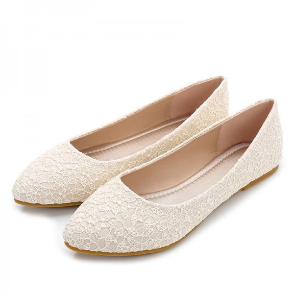 Beige Flat Wedding Shoes Lace Bridesmaid Flats Us Size 3 15 For