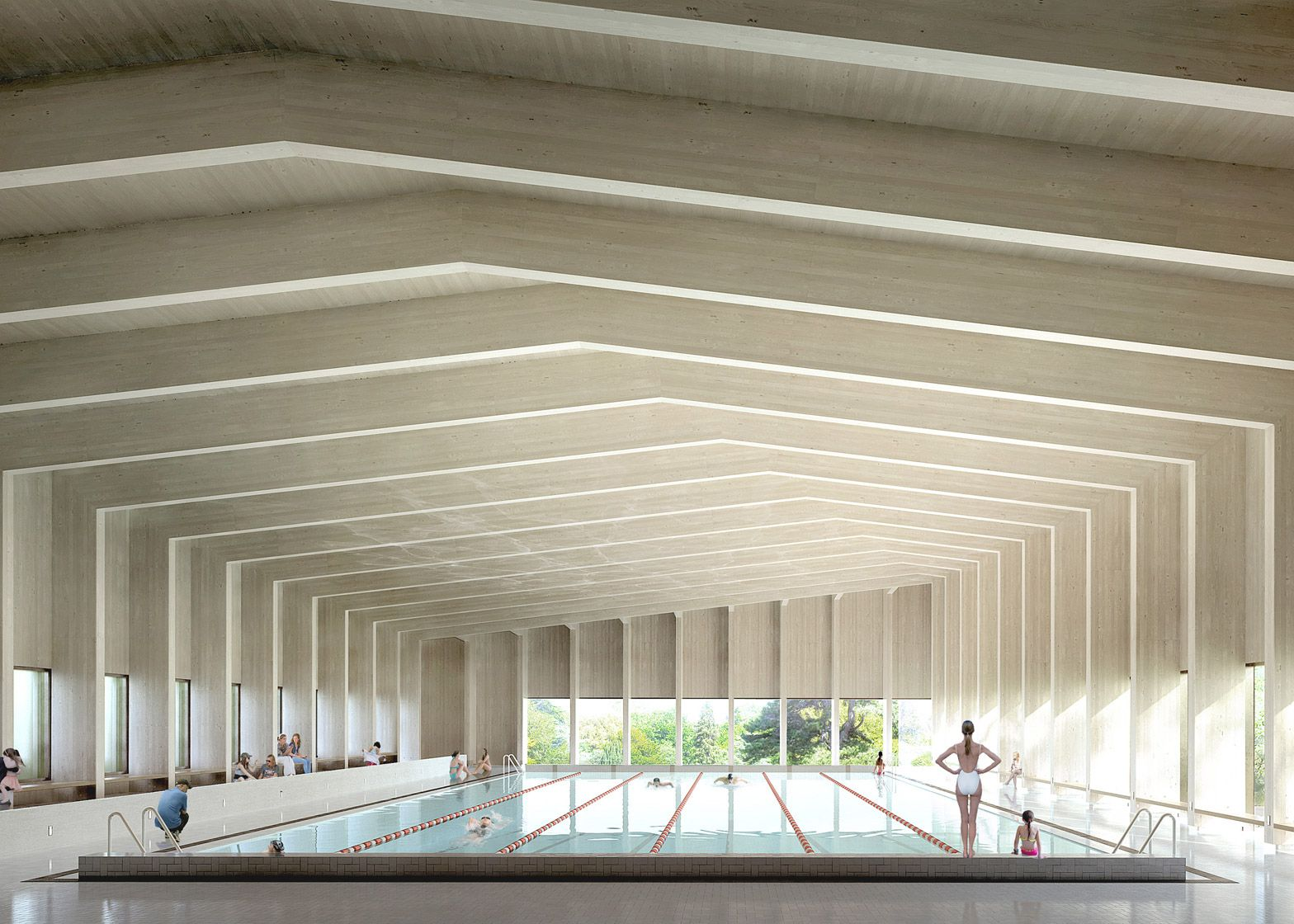 A Cross Laminated Timber Roof Covers This Six Lane
