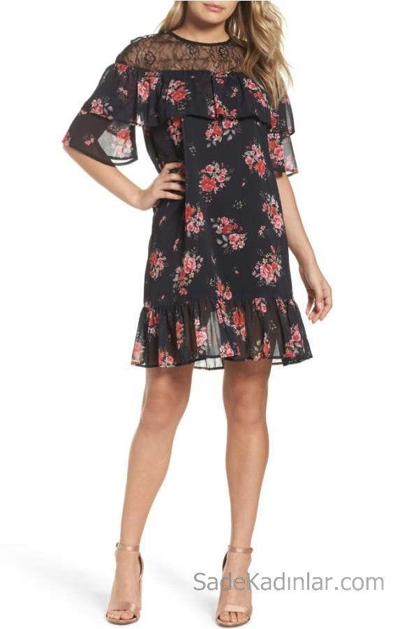 2020 Yazlik Cicekli Sifon Elbise Modelleri Siyah Kisa Yuvarlak Yaka Cicek Desenli Sifon Elbise Elbise Modelleri The Dress
