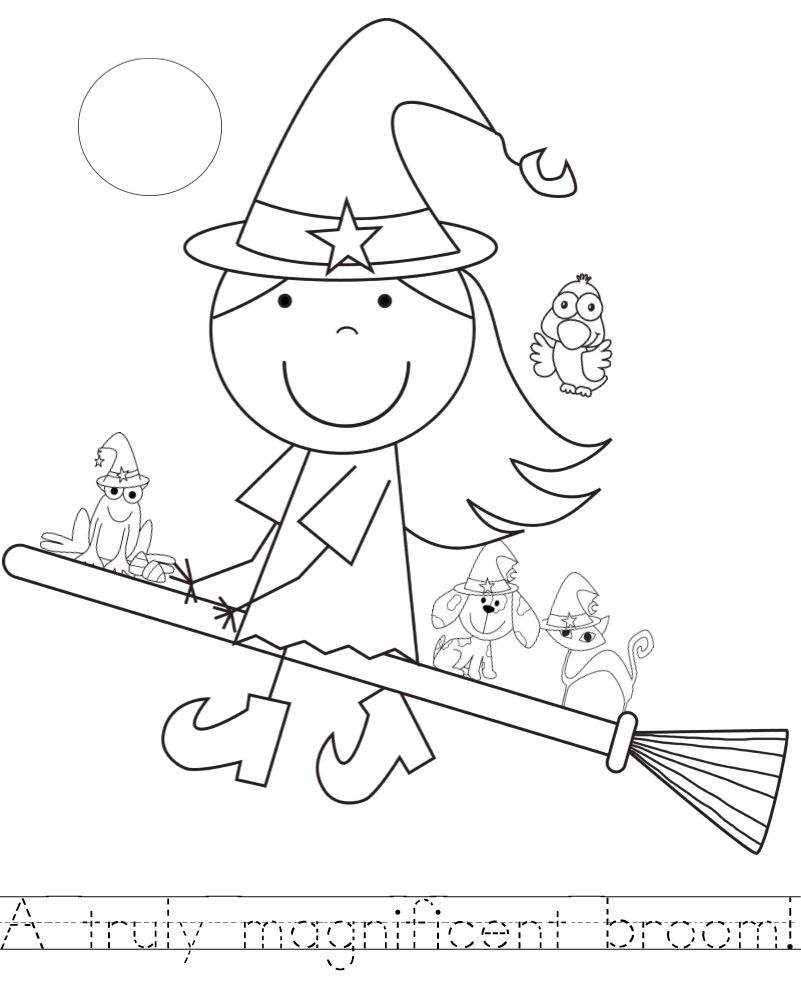 Room on the Broom Color Pages with Handwriting Practice
