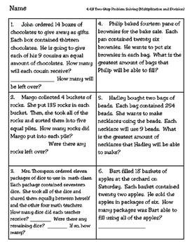 TwoStep Multiplication And Division Worksheet Teks H