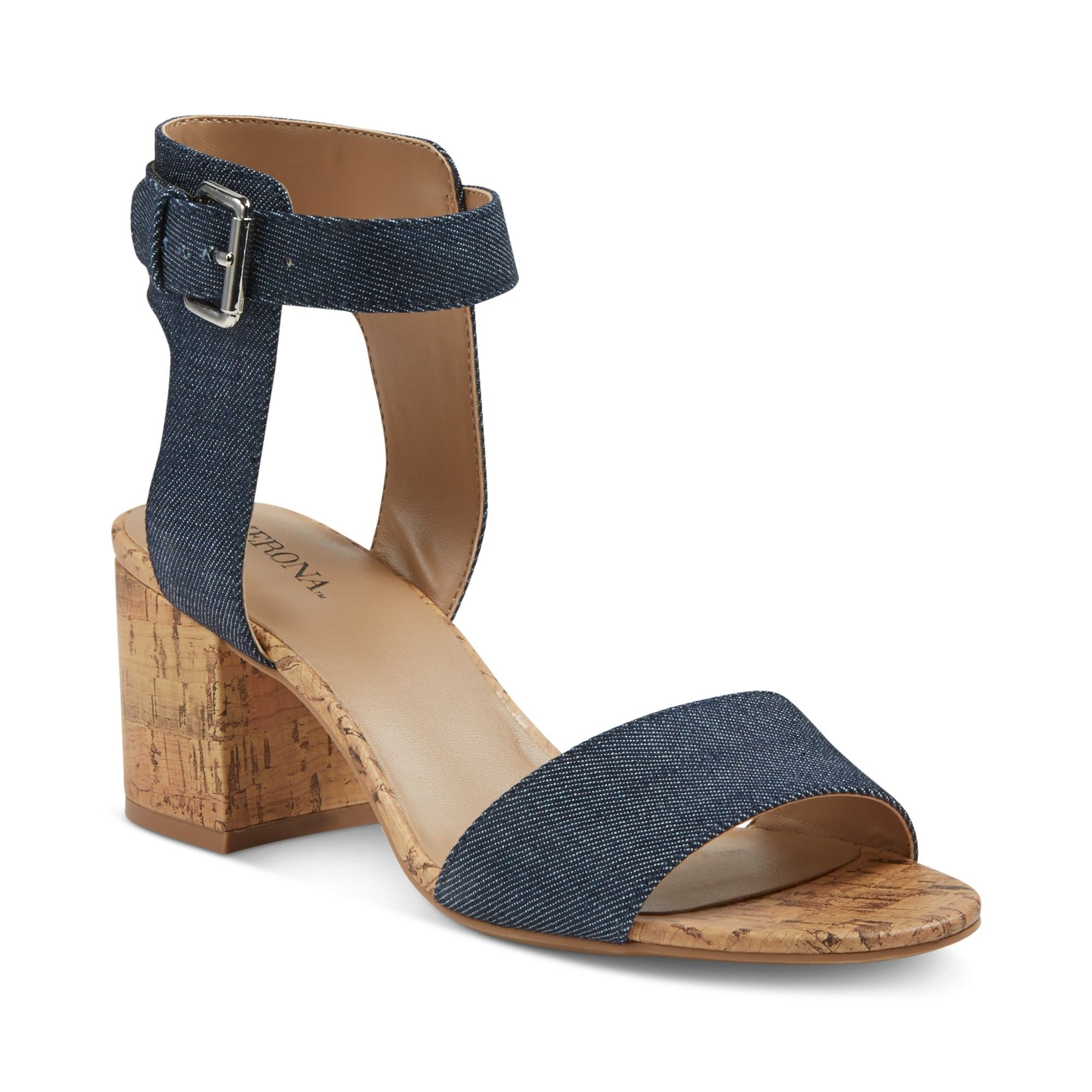 bf552ee0f533a8 Women s Talia Quarter Strap Cork Heel Sandals - Merona Denim 7.5