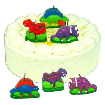 Dinosaurier #Tortenkerzen, bunt bemalt, 6er-Pack