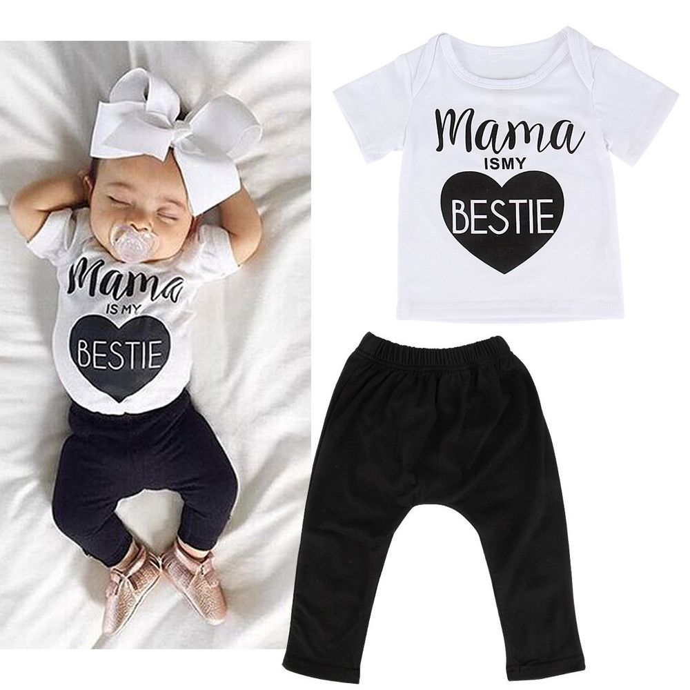 296c1a350 2PCS Toddler Infants Baby Boys Girls T-shirt Tops+Long Pants Outfits ...
