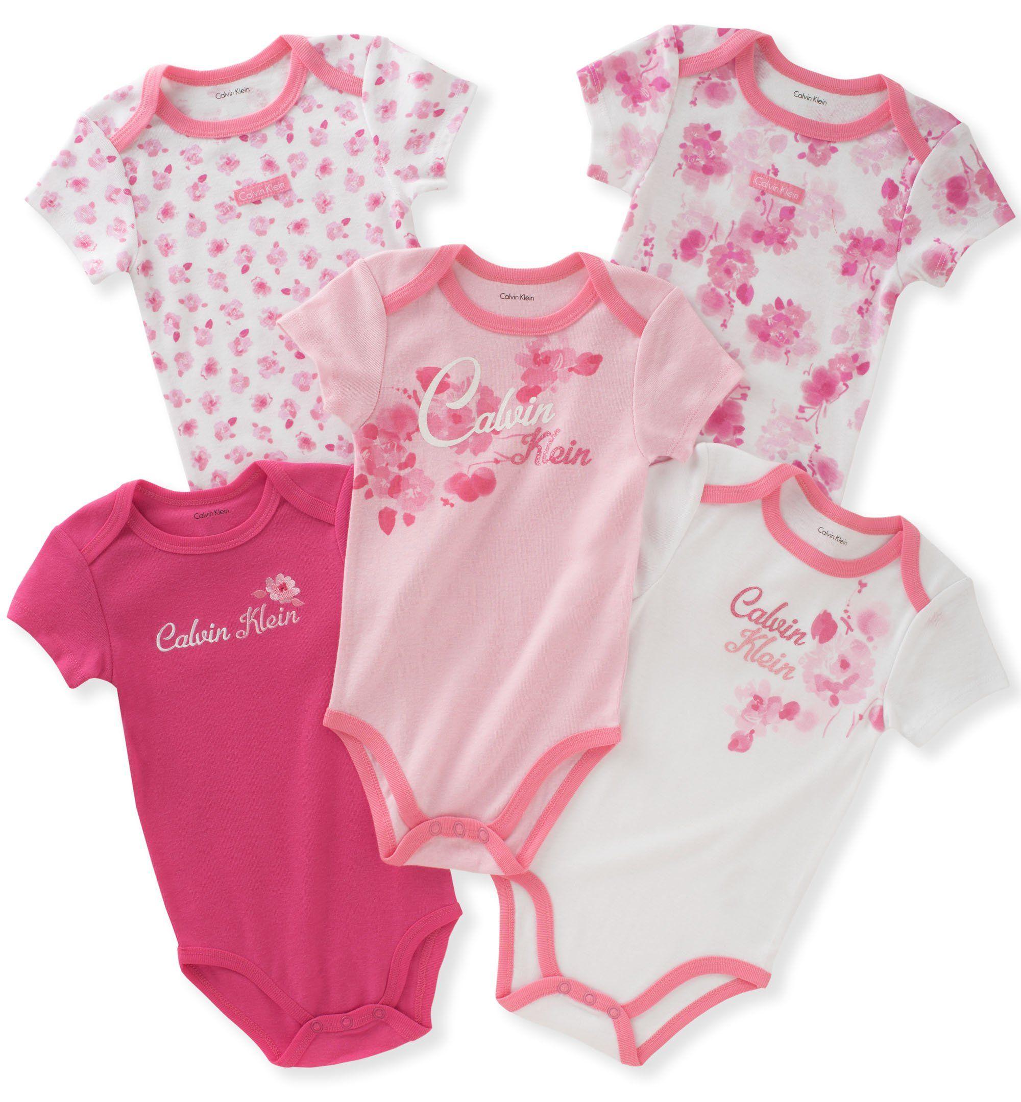 Calvin Klein Baby Girls 5 Pack Bodysuits Pink White 3 6 Months