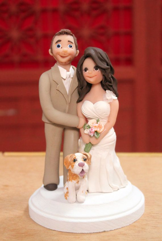 Unique Wedding Cake Toppers with Bride and Groom and Dog - Hand sculpted Cake Topper on Etsy, $165.00