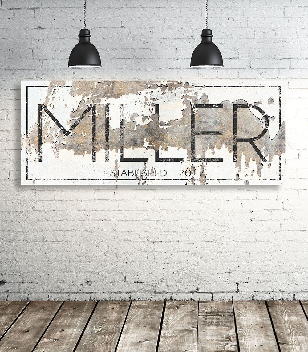 Modern last name sign personalized family name wall art ideas