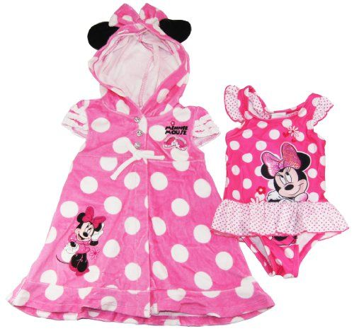 37f51cb973 Disney Girls Cute Minnie Mouse 1Pc Swimsuit & Hooded Cover-up Set, 5