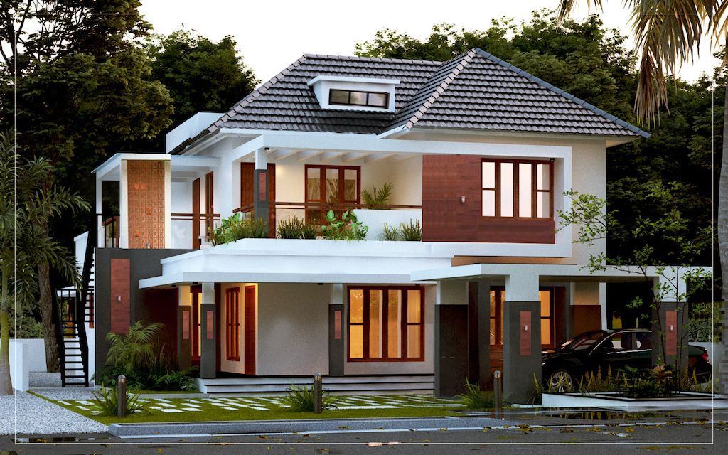 2300 Sq Ft 4 Bed Room Residence Traditional Styled Modern Veedu In 2020 Bungalow House Design House Outer Design Kerala House Design