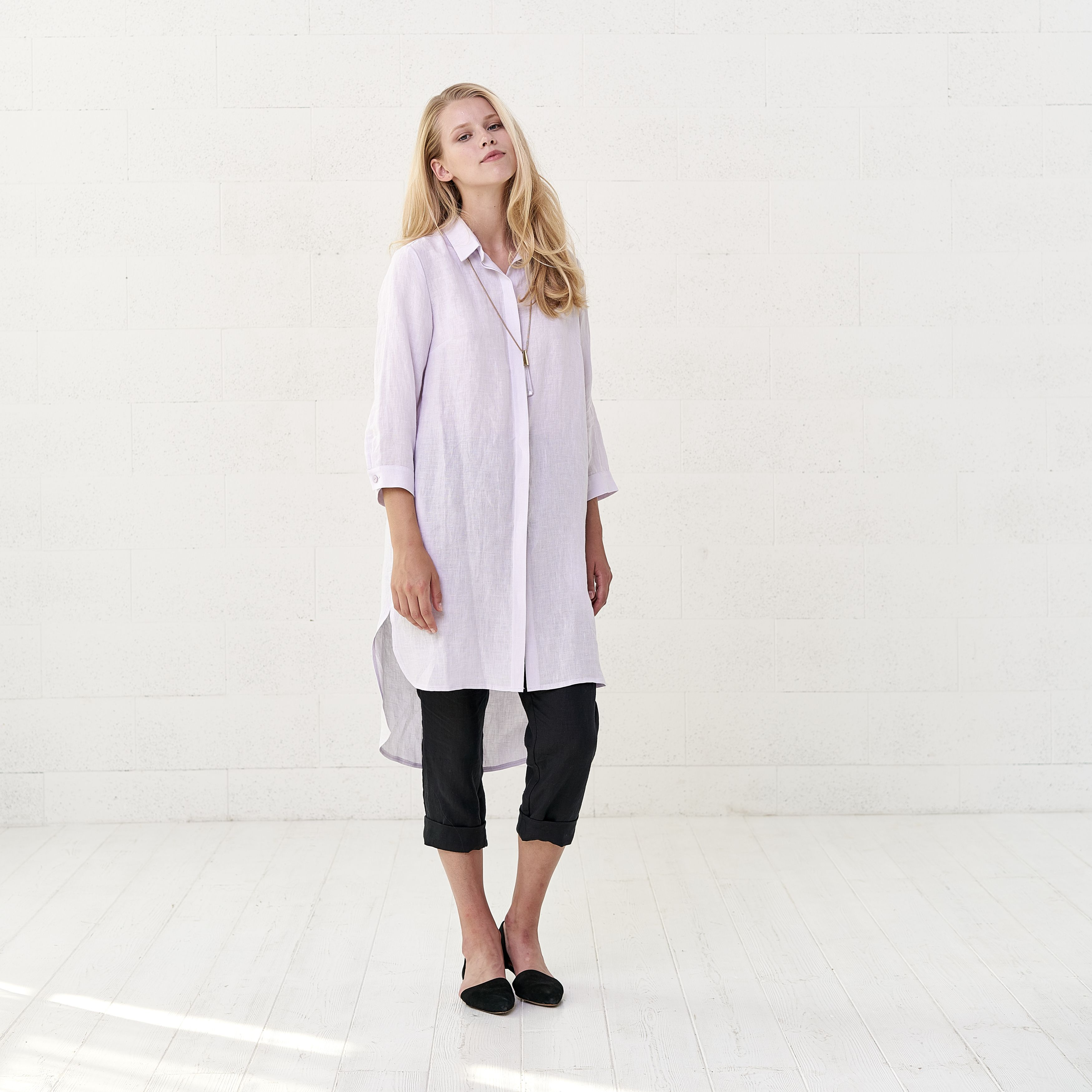 41a028dbee ... Dress. Sakura  loose  linen  shirt  blouse with 3 4 sleeve fits with   trousers or skirt. Practical three quarter sleeves and pockets make shirt  ...