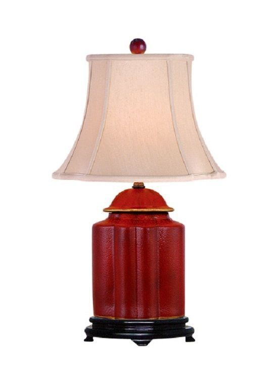 Chinese Red Lacquer Porcelain Scallop Ginger Jar Table Lamp Shade And Finial 22