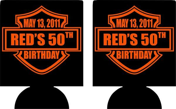 50th Hairstyle: Harley Davidson Style 50th Birthday Koozies Party Favors