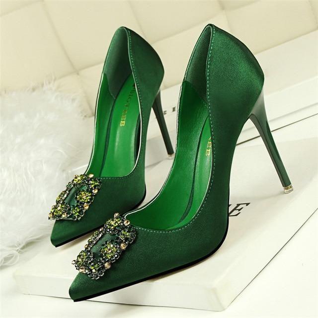 73da950c7f0 BIGTREE Silver Gray Black Women Bridal Wedding Shoes Faux Silk Satin  Rhinestone Crystal Shallow Woman Pumps Stiletto High Heel