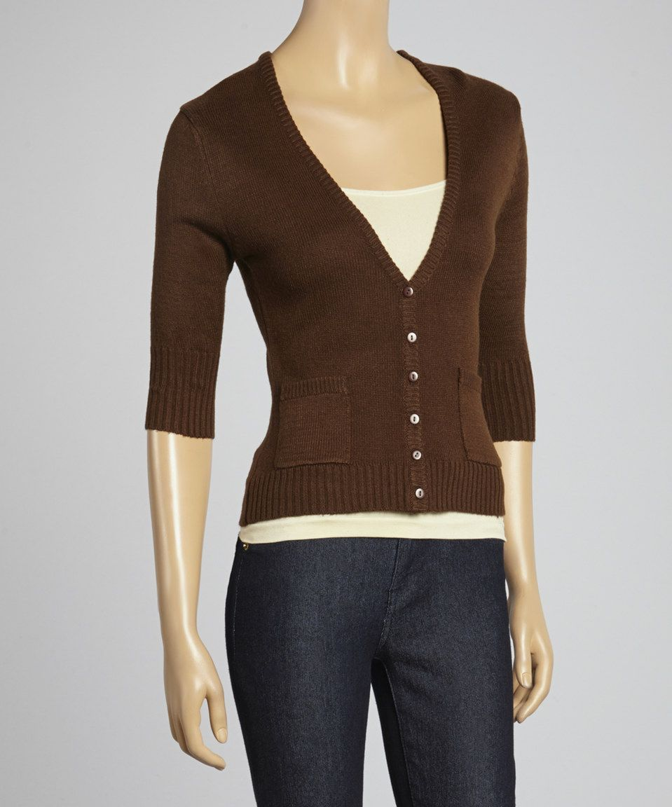 This Sweet Girl Brown Three-Quarter Sleeve Cardigan by Sweet Girl ...