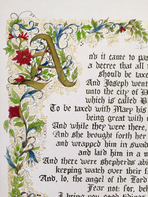 The Christmas Story Luke2 11x14 Print Of Original Hand