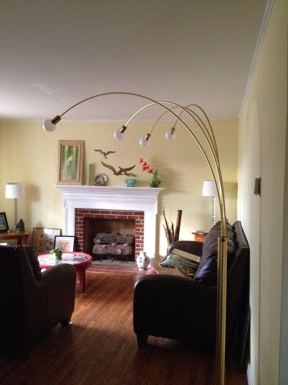 Sale Mid Century Modern Large Four Arm Arc Floor Lamp Brass with ...