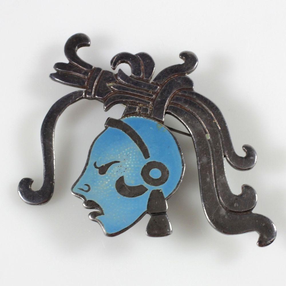RARE Gerardo Lopez Taxco Silver Enamel Pin Mayan Warrior Pin Brooch Estate #GerardoLopezTAXCO