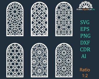Islamic arabic arch window door geometric laser cutting cnc | Etsy