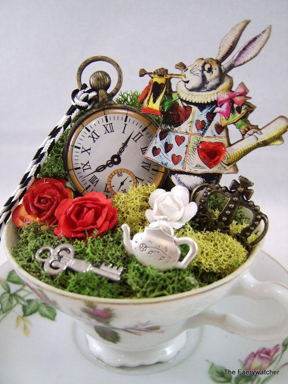 Alice in wonderlands white rabbit story cup centerpiece