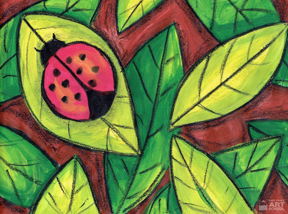 Art Lesson Lady Beetle - Easy Peasy Art School  mini beast
