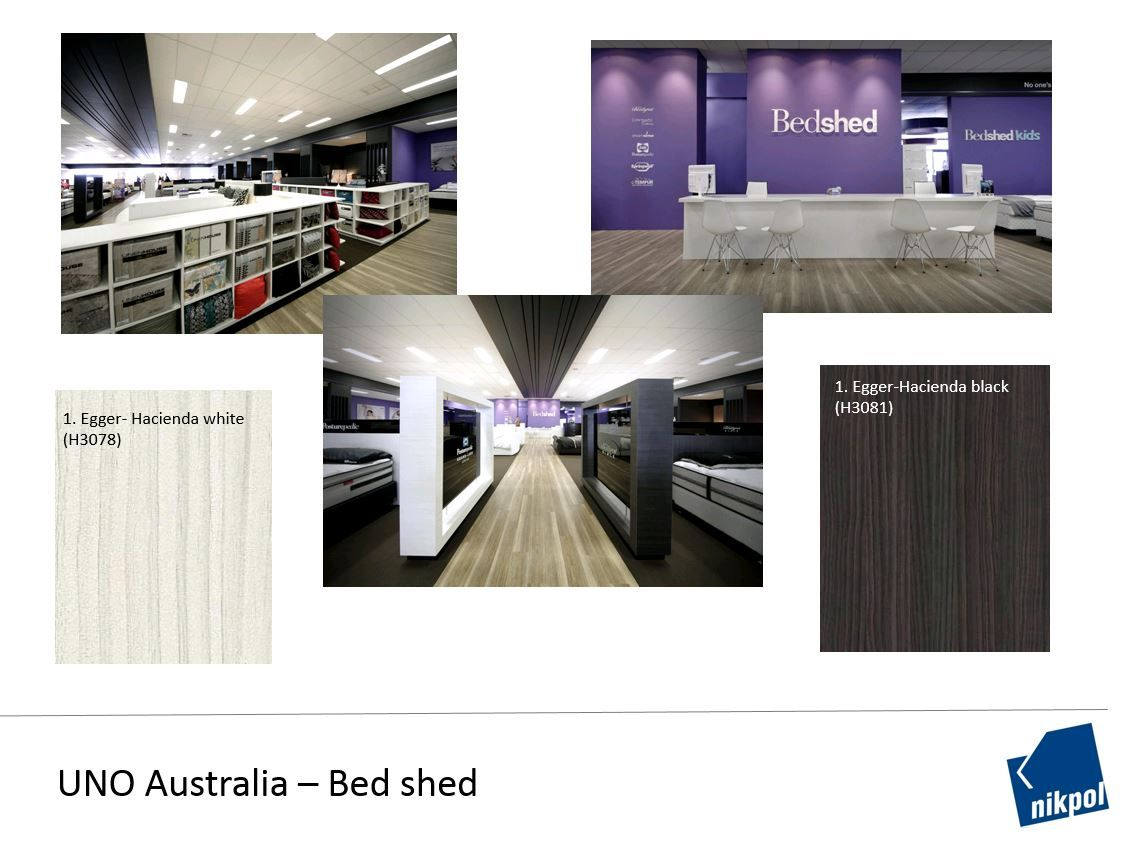 Bed shed designs their new showroom using Egger colour partners Hacienda black and Hacienda white