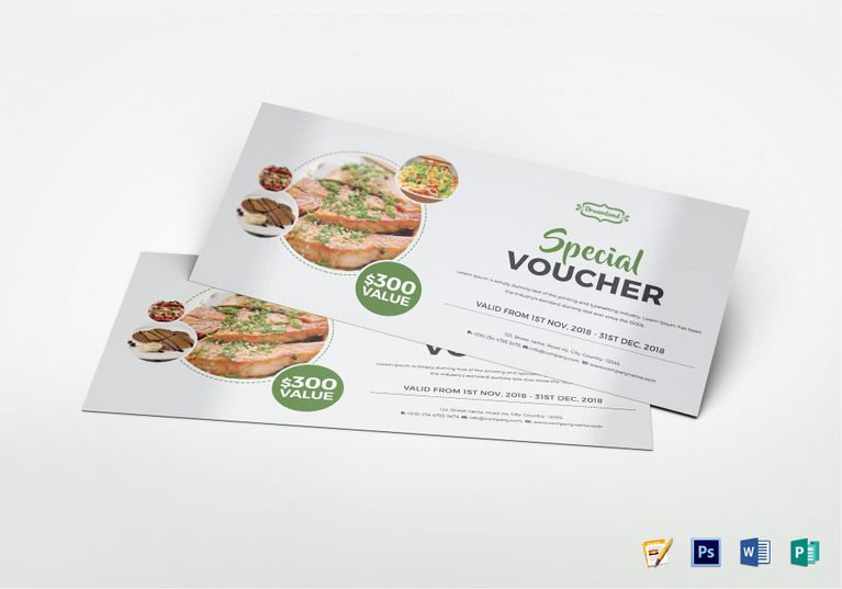 Modern Food Voucher Template  Coupon Designs    Modern