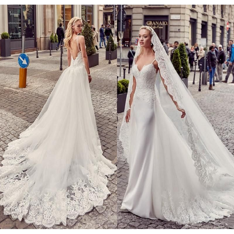 Find More Wedding Dresses Information About Backless Mermaid 2017 Spaghetti Straps Gowns With