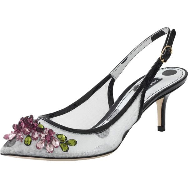 Dolce & Gabbana Slingback With Jewels (2.137.380 COP) ❤ liked on Polyvore