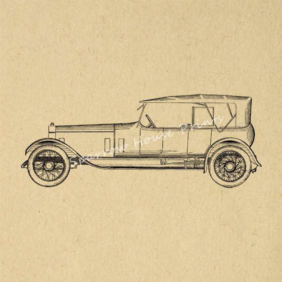 Vintage Rolls Royce Car Wall Art Automobile Car Print Antique ...