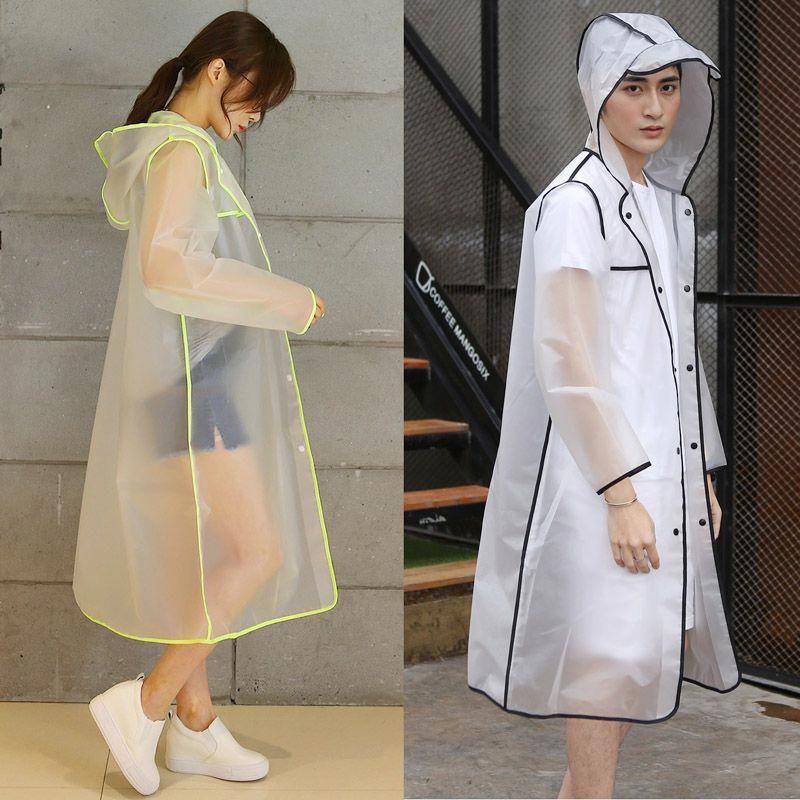 Men Women Waterproof Raincoat Jacket EVA Button Hooded Rain Coat Poncho Rainwear