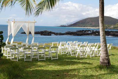Ceremony Setup Maui Wedding at Sugarman Estate aka Honua Kai Lani