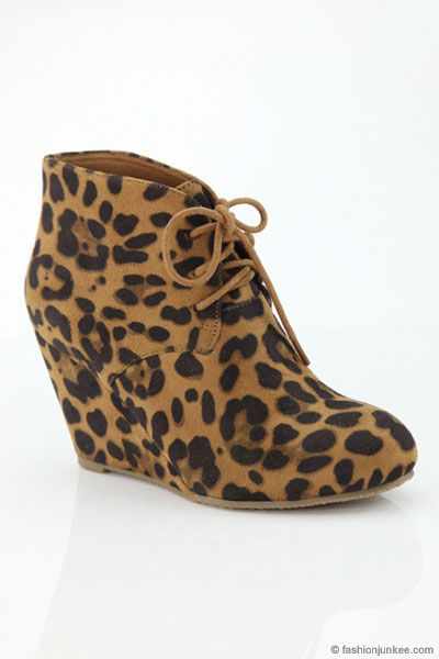 82fa32e2e268 Faux Suede Lace Up Wedge Heel Ankle Bootie-Leopard Print - NOW IN STOCK!