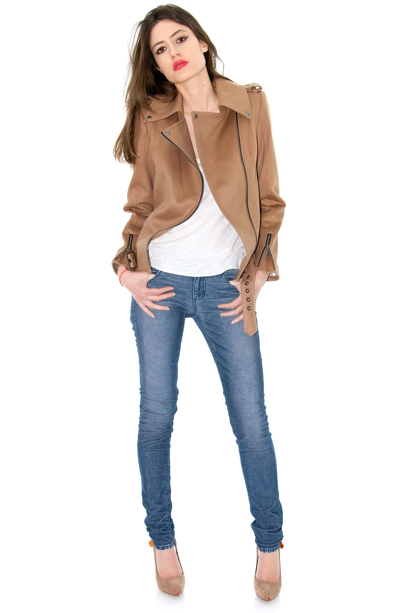 91c1a8cdb7f43 Perfecto laine, perfecto camel, blouson sexy - Stefanie Renoma ...