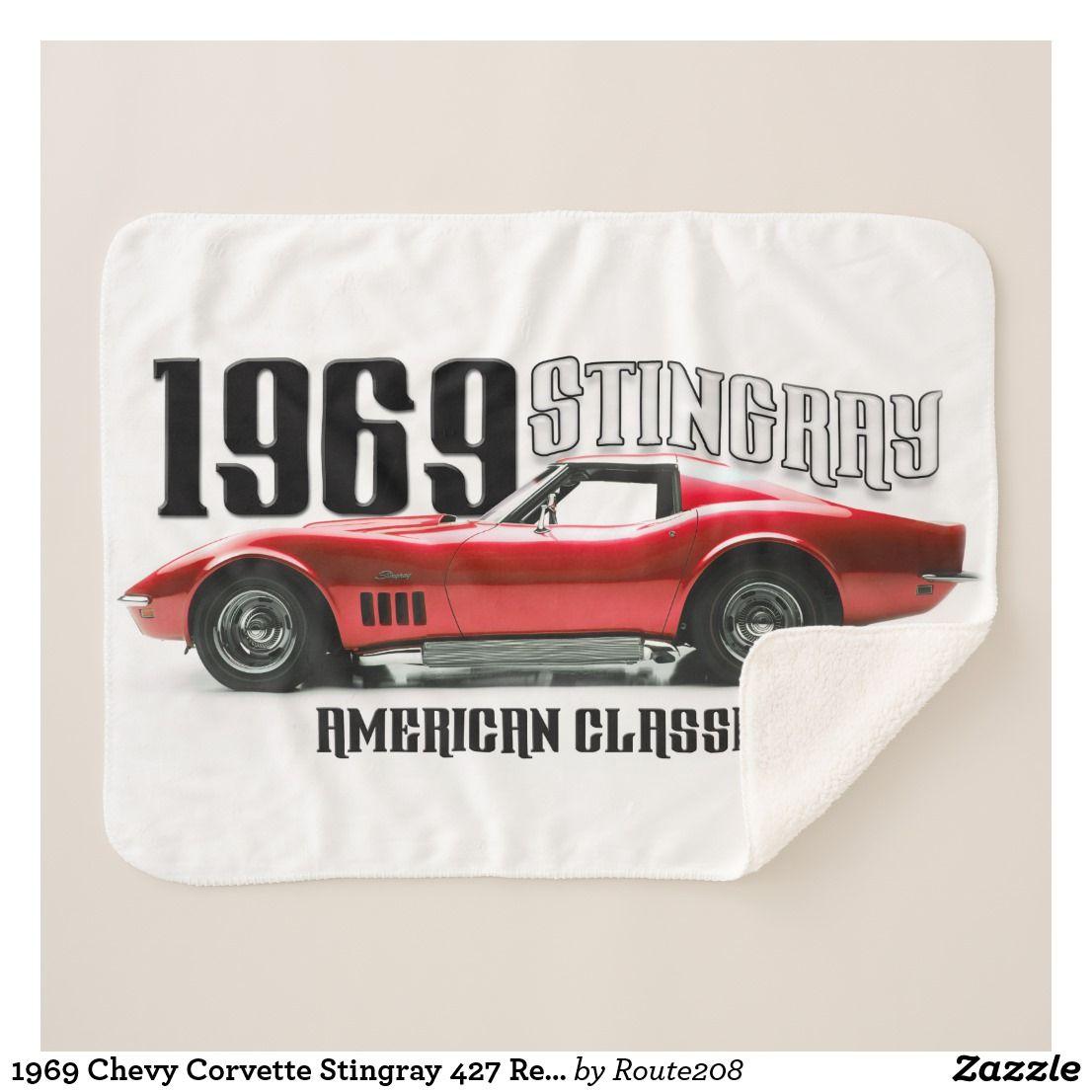 1969 Chevy Corvette Stingray 427 Red Classic Car Sherpa Throw Blanket Gifts Chevy Corvette Corvette Stingray Chevy