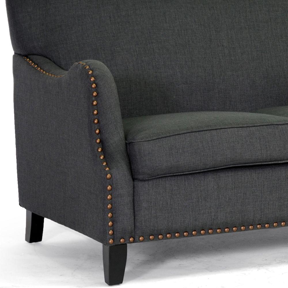 baxton studio penzance dark gray linen loveseat | affordable