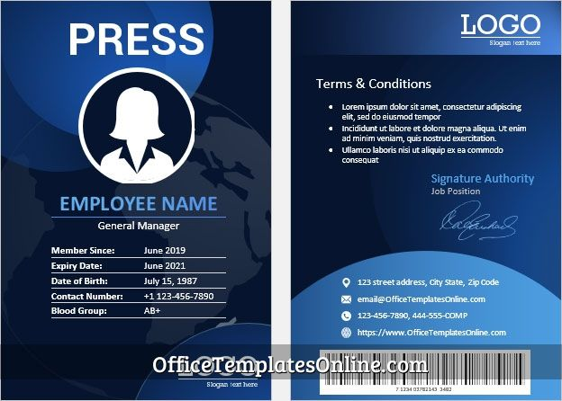 Id Card Template For Press News Manager In Ms Word In 2021 Id Card Template Badge Template Words