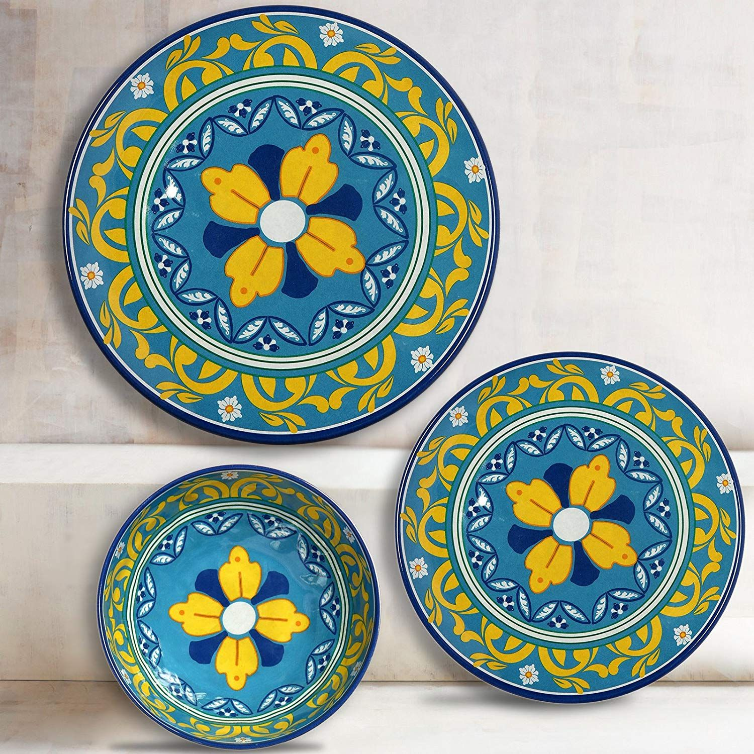 Amazon Com Melange 6 Piece 100 Melamine Dinner Plate Set Florence Collection Shatter Proof And Ch Melamine Dinner Plates Dinner Plate Sets Dinner Plates