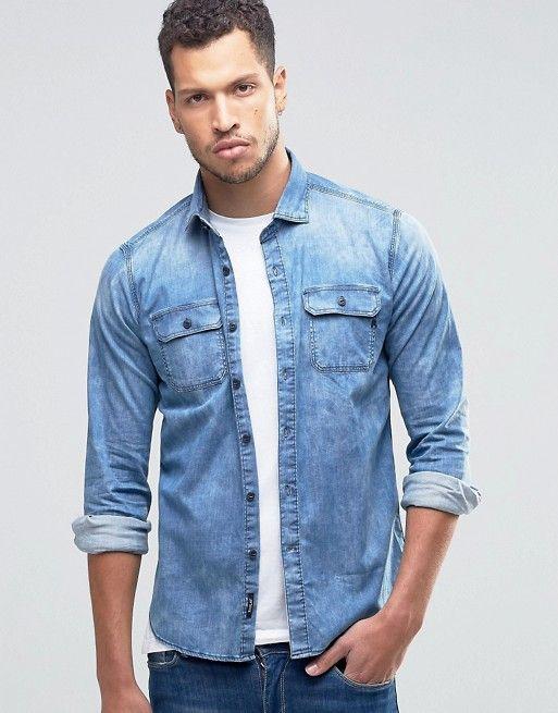 6c67ee15a Camisa vaquera de corte slim con lavado claro de Replay