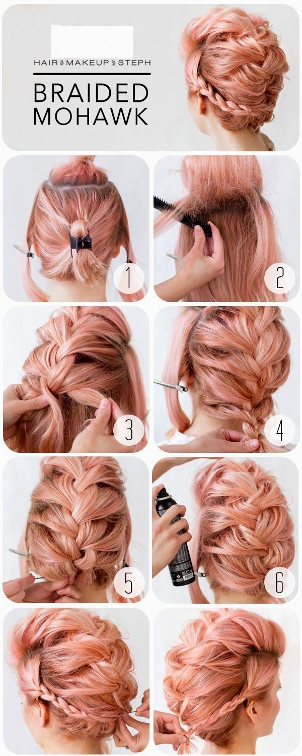Braided mohawk braided mohawk pink hair and mohawks