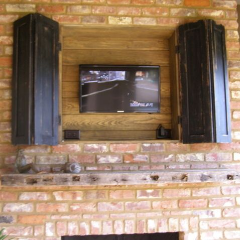 Pin on outdoors - Outdoor fireplace with tv ...