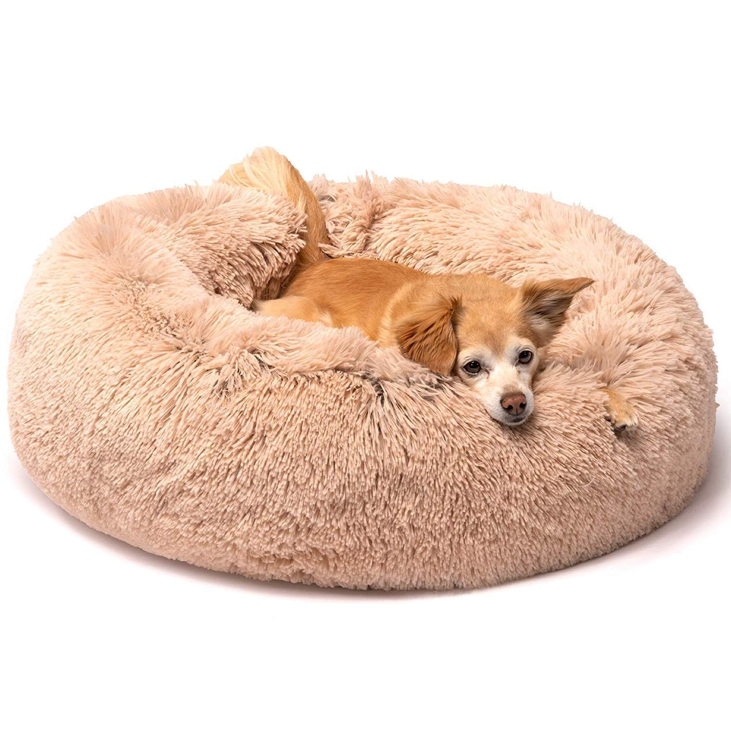 Friends Forever Donut Cat Bed Faux Fur Dog Beds For Medium Small Dogs Self Warming Indoor Round Pill In 2020 Dog Beds For Small Dogs Dog Bed Large Faux Fur Dog Beds