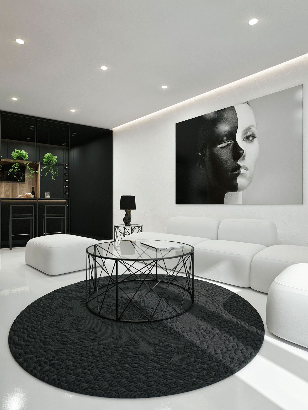 30 Black White Living Rooms That Work Their Monochrome Magic White Living Room Decor Black And White Living Room Monochrome Living Room