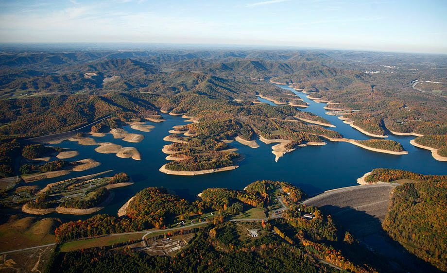 Crystal Lake Vw >> Aerial view of Summersville Lake at low water levels north of Fayetteville, WV   West Virginia ...