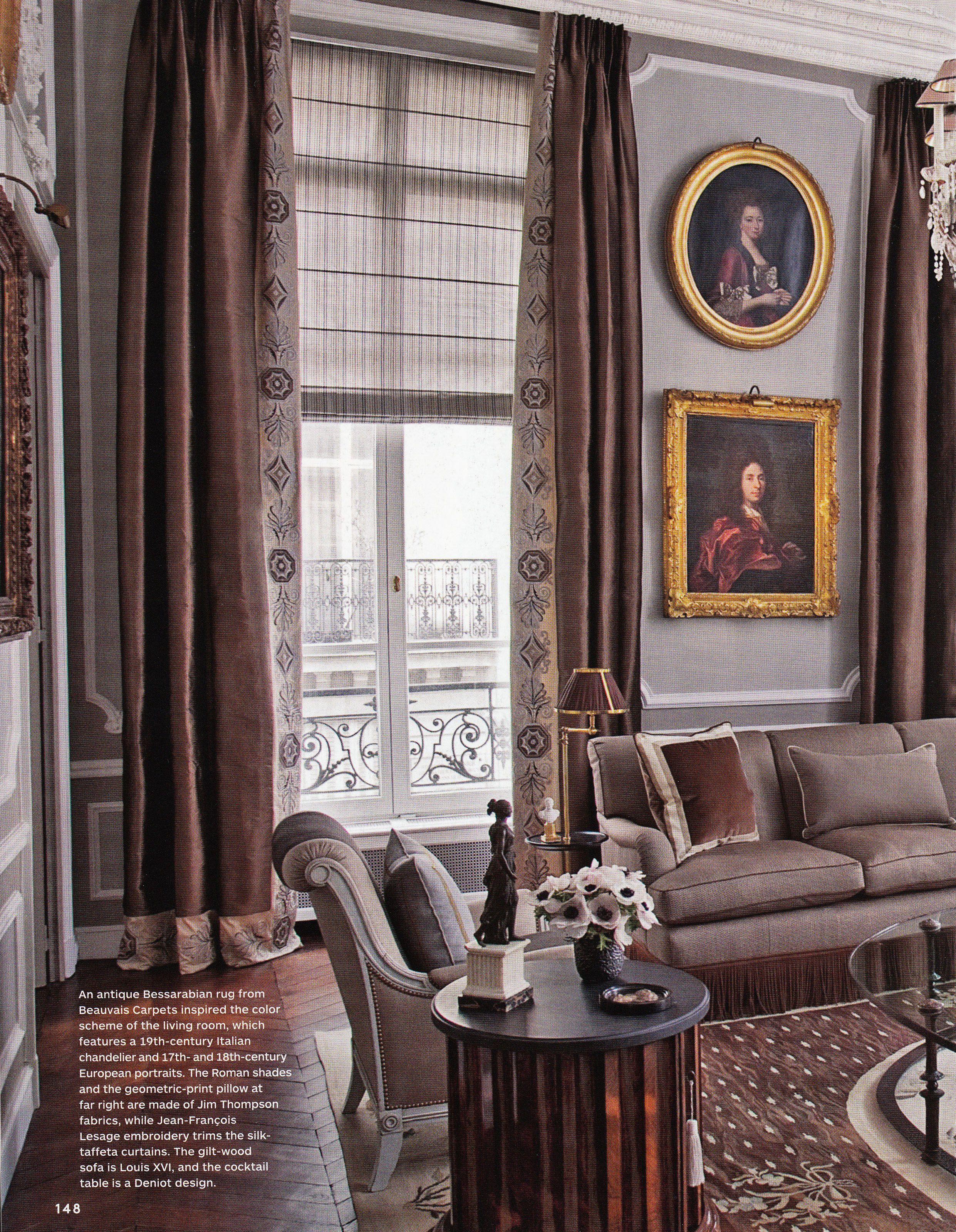 Curtains blinds paris left bank apartment by jean louis for Decoracion de interiores paris