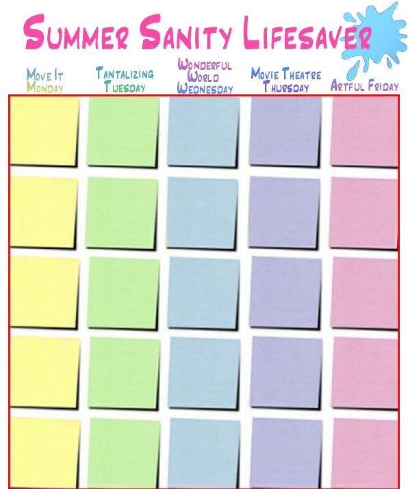 Summer Sanity Lifesaver Chart Each day, Attacks and Summer