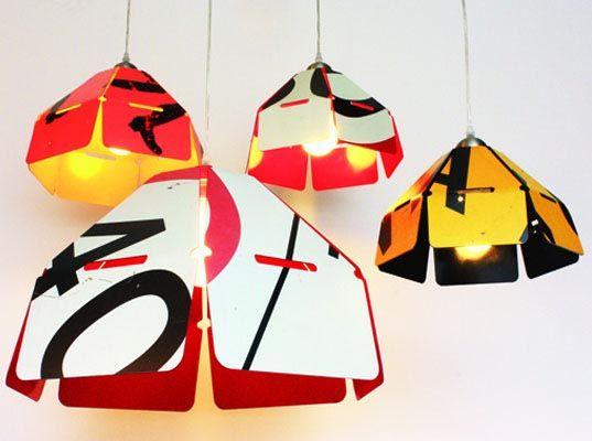 lamps made of streetsigns by Brett Coelho
