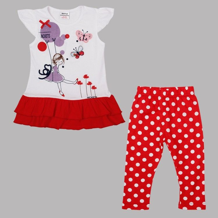 725d06c8c Click to Buy    2-6T white red baby girls summer dresses +leggings ...