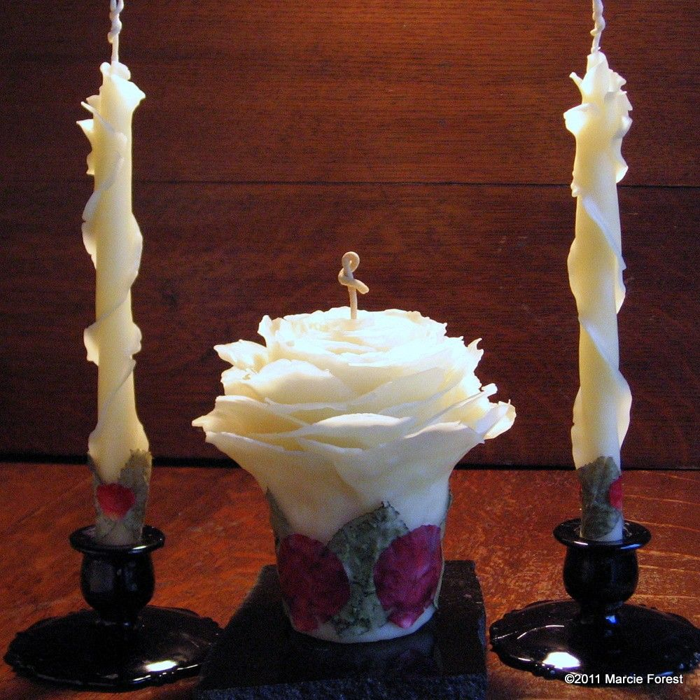 Unity Set Rose Candles Wedding Decor Gift Table Centerpiece Pure Beeswax